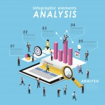 Business analysis concept with tablet and growing graph in 3d isometric flat style