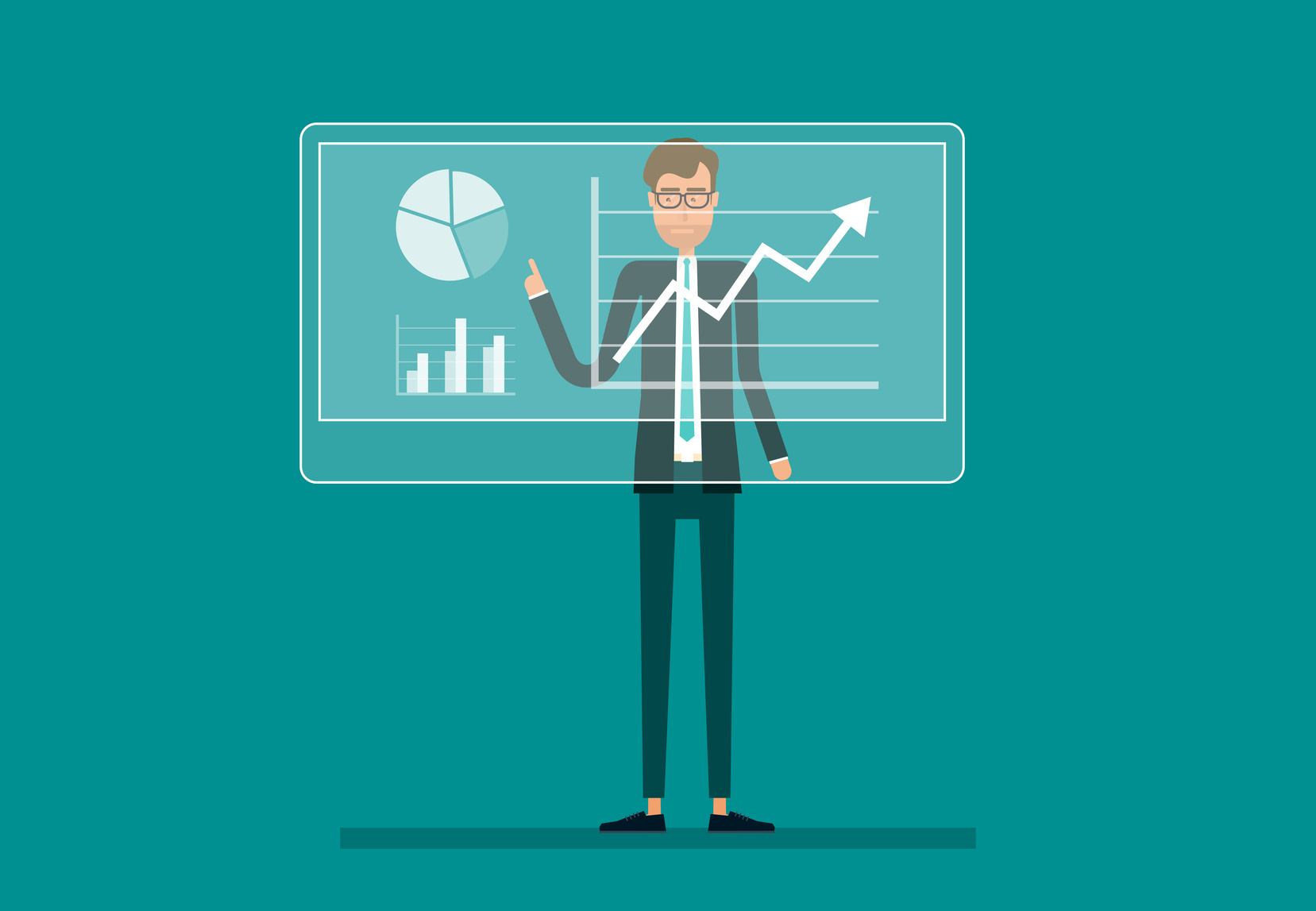 business man analyze on financial report graph profit growth with infographic chart on monitor and business planning concept.